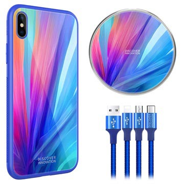 Nillkin Fancy iPhone XS Max Cover-Draadloze Oplader-3-in-1 Kabel Blauw