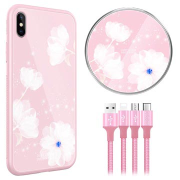 Nillkin Fancy iPhone XS Max Cover-Draadloze Oplader-3-in-1 Kabel Roze