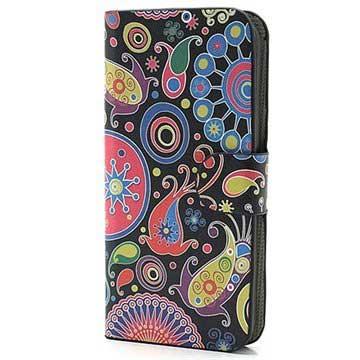 iPhone 5-5S-SE Wallet Leren Hoesje Kleurrijke Bloemen Zwart