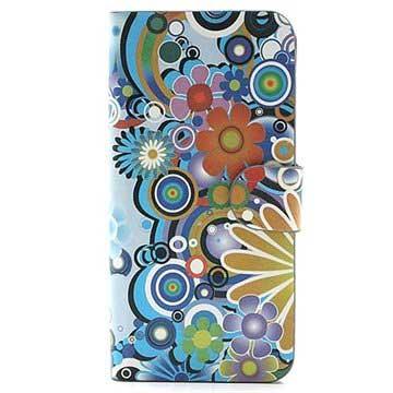 iPhone 5-5S-SE Wallet Leren Hoesje Kleurrijke Bloemen Wit