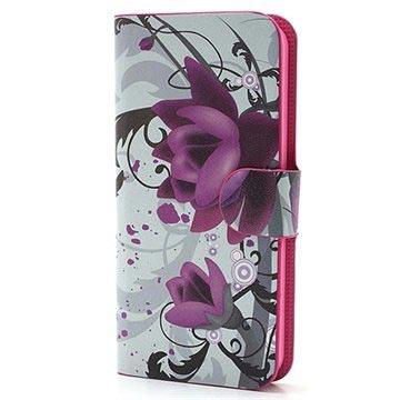 iPhone 5-5S-SE Wallet Leren Hoesje Lotusbloem