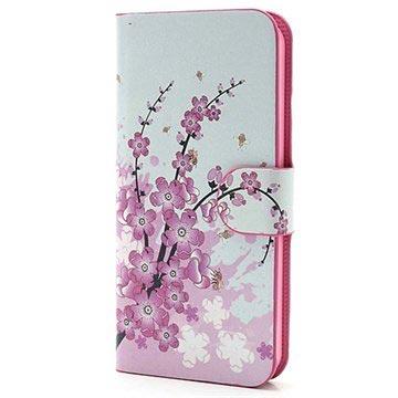 iPhone 5-5S-SE Wallet Leren Hoesje Roze Bloemen