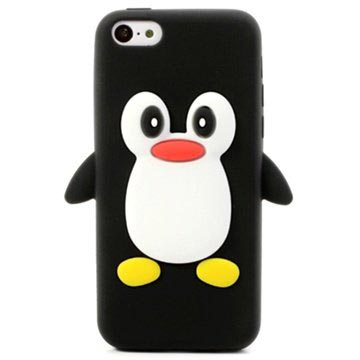 iPhone 5C 3D Penguin Siliconen Hoesje Zwart