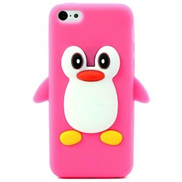 iPhone 5C 3D Penguin Siliconen Hoesje Hot Pink