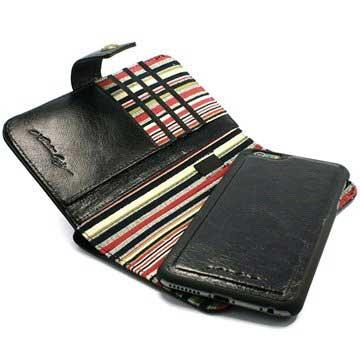 Alston Craig Genuine Vintage leather Magnetic E-scape portemonnee case cover Iphone 6 Plus Zwart
