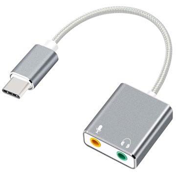 Type-C-3.5mm Koptelefoon & Microfoon Audio Adapter Grijs