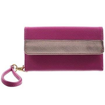 Universele Elegante Multiple Card Slot Wallet Hoesje Hot Pink