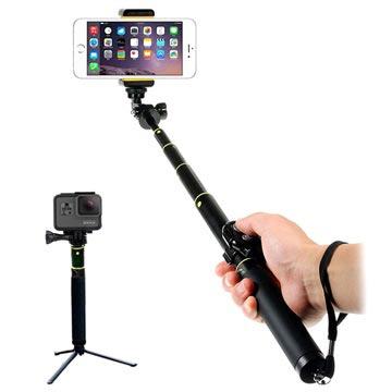 Universele Uitschuifbare Selfie Stick & Bluetooth Camera Sluiter H611 Zwart