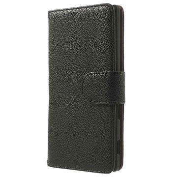 Sony Xperia M2 Aqua Wallet Leren Hoesje Zwart