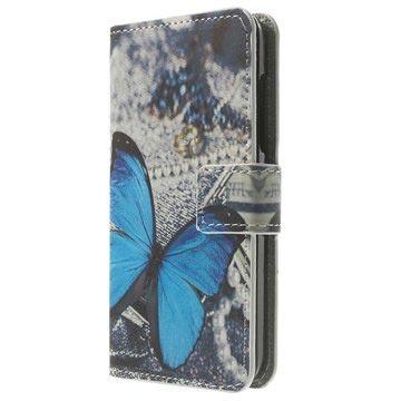 Nokia Lumia 630, Lumia 630 Dual Sim Wallet Leren Hoesje Blauw Vlinder