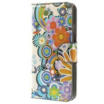 iPhone 6-6S Wallet Leren Hoesje Kleurrijke Bloemen