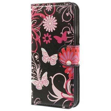 iPhone 6-6S Wallet Leren Hoesje Vlinders-Bloemen