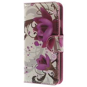 iPhone 6-6S Wallet Leren Hoesje Lotusbloem
