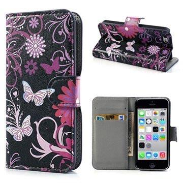 iPhone 5C Wallet Leren Hoesje Vlinders-Bloemen