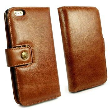 Alston Craig Vintage Genuine Leather Wallet Case Cover for Apple iPhone 6 Brown