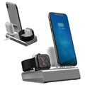 3-in-1 Aluminum Alloy Oplaadstation - iPhone, Apple Watch, AirPods - Grijs