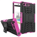 Sony Xperia X Compact Anti-Slip Hybrid Case - Zwart / Hot Pink