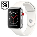Apple Watch Series 3 LTE MQLV2ZD/A - Roestvrij Staal, Sportbandje, 38mm, 16GB - Wit/Zilver