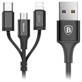 Baseus 3-in-1 USB Kabel - Lightning, Type-C, MicroUSB