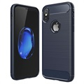iPhone X / iPhone XS Brushed TPU Case - Carbon Fiber - Donkerblauw