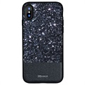 iPhone X DZgogo Bling Bling Series Hybrid Case - Zwart