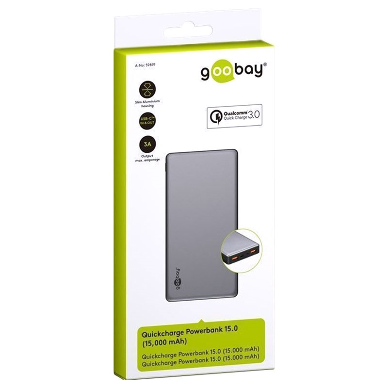 Goobay Quick Charge Powerbank - Dual USB, Type-C