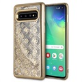 Guess 4G Peony Liquid Glitter Samsung Galaxy S10 Cover - Goud