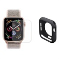 Hat Prince Apple Watch Series SE/6/5/4 Full Bescherming Set - 44mm - Zwart