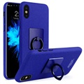 iPhone X Imak Ring Cover met Screenprotector - Blauw