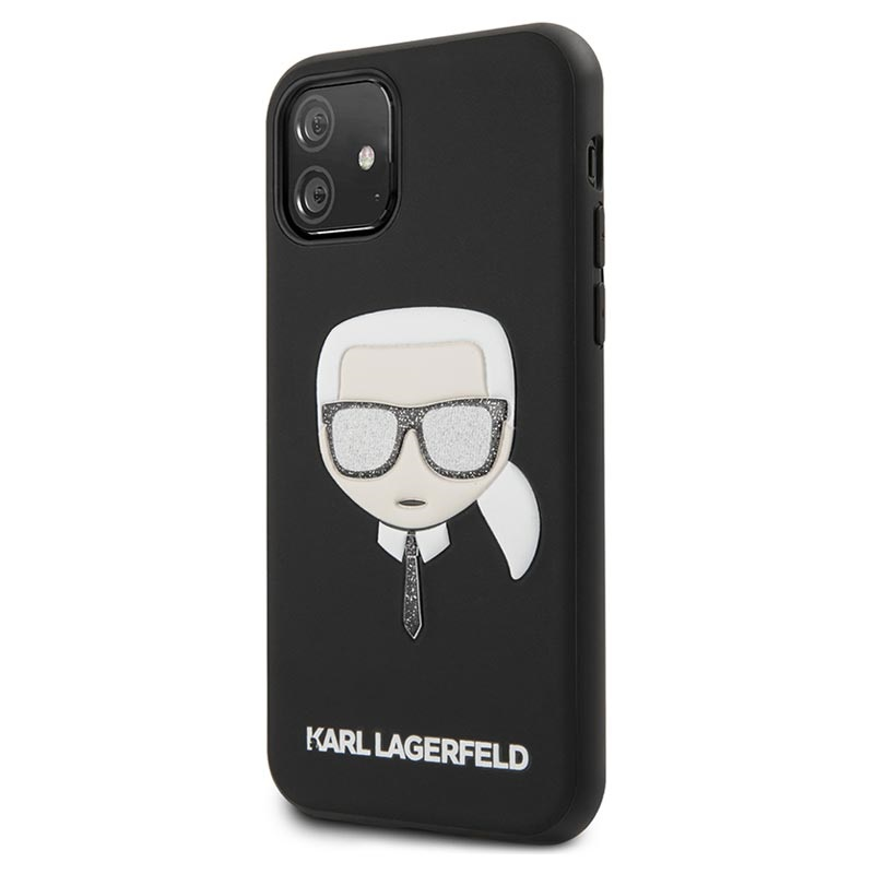 Karl Lagerfeld Embossed Glitter iPhone 11 Hybrid Case - Zwart