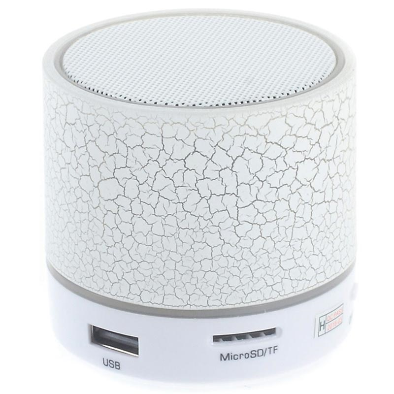 Mini Bluetooth Speaker met Microfoon & LED Licht A9 - Gebroken Wit