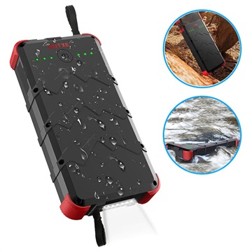 Outxe Savage 20000mAh Quick Charge Rugged Powerbank - Zwart / Rood