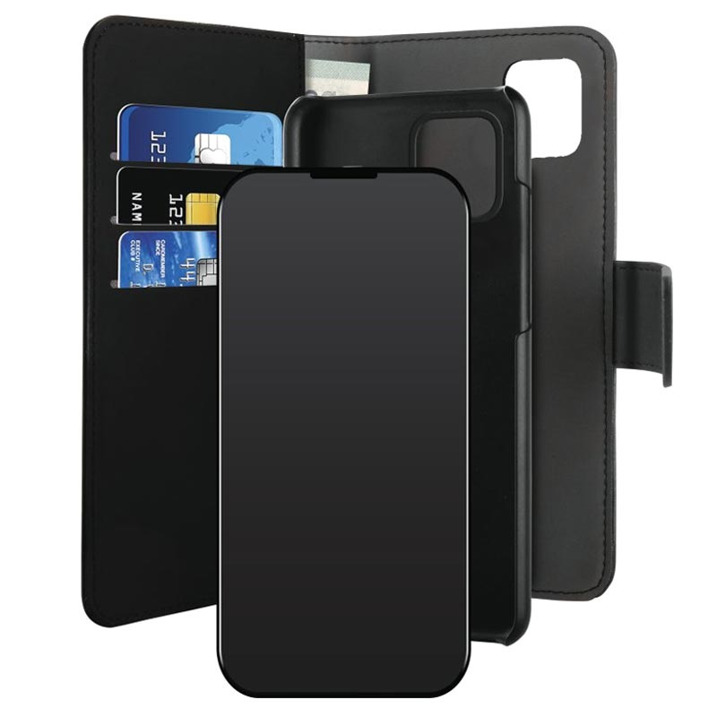 Puro 2-in-1 Magnetisch iPhone 12/12 Pro Wallet Case - Zwart