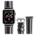 Qialino Apple Watch Series 5/4/3/2/1 Leder Bandje - 42mm, 44mm - Zwart