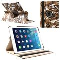 iPad Air Rotary Smart Leren Tas - Bruin / Wit / Zwart