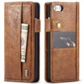 iPhone 7 / iPhone 8 Saii Retro Multi-slot Wallet Hoesje - Bruin