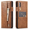 iPhone X Saii Retro Multi-slot Wallet Case - Bruin