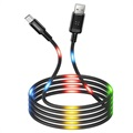 Usams US-SJ288 Dancing LED USB 2.0 / MicroUSB Kabel - 1m - Zwart