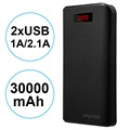 iMyMax Carbon MM-PB/006 2xUSB Powerbank - 30000mAh - Zwart