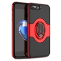 iPhone 7 Plus / iPhone 8 Plus iPaky Hybrid Magnetisch Ring Cover - Rood / Zwart