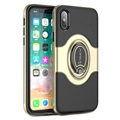 iPhone X iPaky Hybrid Magnetisch Ring Cover - Goud / Zwart
