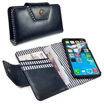 b3affdd6c6e Alston Craig RFID Slim iPhone X / iPhone XS Wallet Leren Hoesje - Navy Blauw