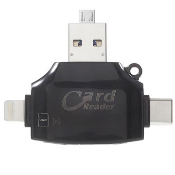 4-in-1 Multifunctionele MicroSD/SD Kaartlezer - Zwart
