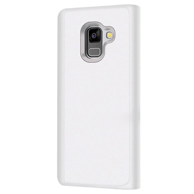 Samsung Galaxy A8 (2018) Luxury Mirror View Flip Cover - Zilver
