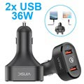 Vinsic VSCC208 Qualcomm Quick Charge 3.0 Autolader - 2x USB, 6A, 36W