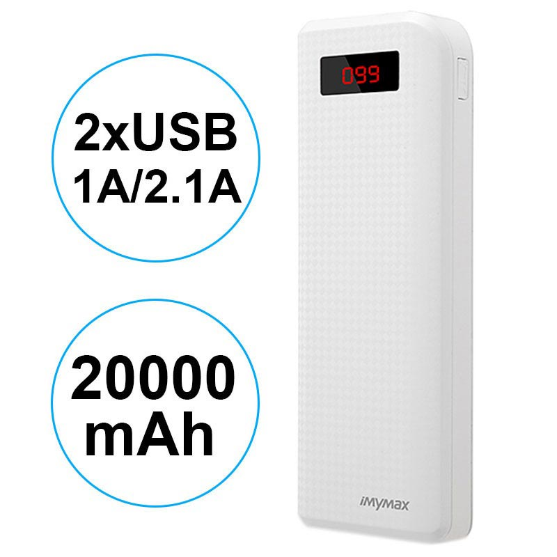 iMyMax Carbon MM-PB/005 2xUSB Powerbank - 20000mAh - Wit