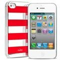 iPhone 4 / 4S Puro Stripe Cover - Zilver / Rood