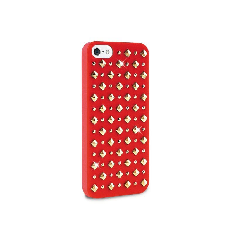 iPhone 5 / 5S / SE Puro Rock Round And Square Studs Cover - Rood
